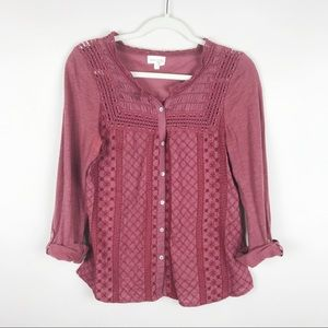 Anthropologie Meadow Rue Brick Red Lace Button Top